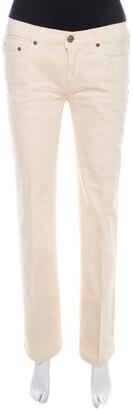 Roberto Cavalli Cream Cotton Twill Denim Crinkled Effect Jeans M
