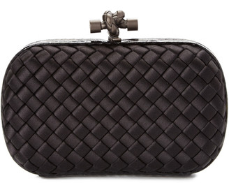 Bottega Veneta Ayers Small Intreccio Impero Satin Knot Clutch