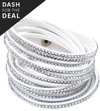 Swarovski Sevil Designs Women's Bracelets Silver - White Faux Leather Wrap Bracelet With Crystals
