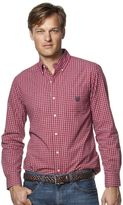 Chaps Big & Tall Mini-Check Poplin Easy-Care Shirt