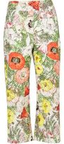 River Island Womens White floral print cropped pants