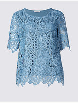 Classic Paisley Lace Round Neck Half Sleeve T-Shirt