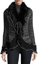 Neiman Marcus Faux-Fur Trim Knit Jacket, Black