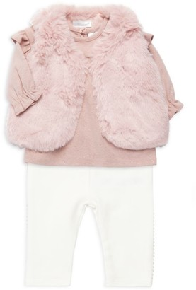 Miniclasix Baby Girl's Faux Fur Vest, Top & Leggings Three-Piece Set