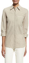 Lafayette 148 New York Brody Long-Sleeve Gingham Blouse