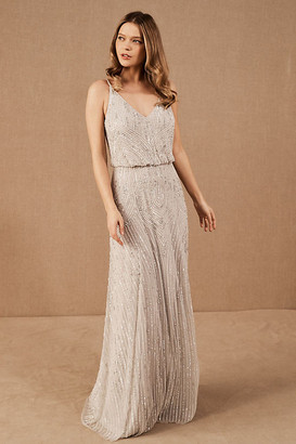 BHLDN Fidelia Beaded Maxi Dress By in Silver Size 0