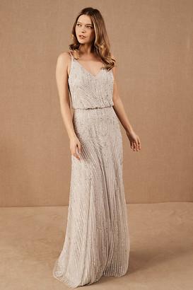BHLDN Fidelia Beaded Maxi Dress By in Silver Size 2