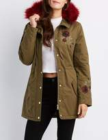 Charlotte Russe Floral Embroidered Faux Fur-Trim Anorak Jacket