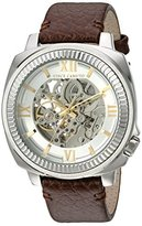 Vince Camuto Men's VC/1091SVSV Silver-Tone Exposed Automatic Brown Leather Strap Watch