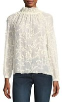 Rebecca Taylor Ellie Embroidered Semisheer Silk Top
