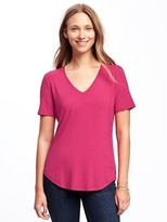 Old Navy Luxe Curved-Hem V-Neck Tee for Women