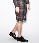 Paul Smith Purple Check Linen-Blend Tasselled Shorts