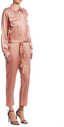 A.L.C. Jeter Long-Sleeve Satin Jumpsuit