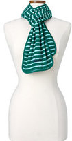Lands' End Women's 100 Fleece Pattern Scarf-Drake Green Stripe