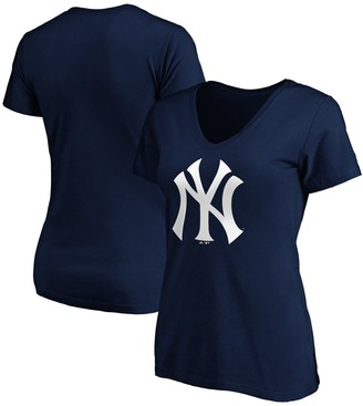 New York Yankees Women's Fanatics Branded Navy Core Official Logo V-Neck T-Shirt