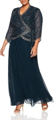 J Kara Women's Plus Size Long 3/4 Sleeve V-Neck Beaded Faux Wrap Dress