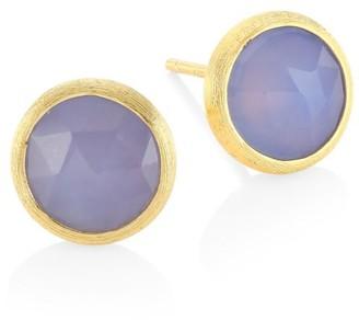 Marco Bicego Jaipur 18K Gold Purple Chalcedony Round Stud Earrings