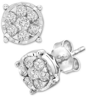 Effy Diamond Cluster Stud Earrings (1/2 ct. t.w.) in 14k White Gold