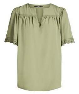Set Fashion - 62221 Khaki Polyester Tunic Blouse - 40 - Green