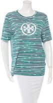 Tory Burch Striped Logo Print T-Shirt
