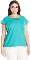 Fresh Women's Plus-Size Cap Sleeve V-Neck 2fer with Schiffli Embroidery
