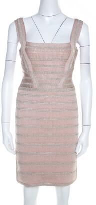 Herve Leger Light Pink and Metallic Crochet Knit Alyia Bandage Dress M