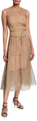 Brunello Cucinelli Tulle Sequined Sleeveless Dress
