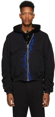 Haider Ackermann SSENSE Exclusive Black and Blue Embroidered Bomber Jacket