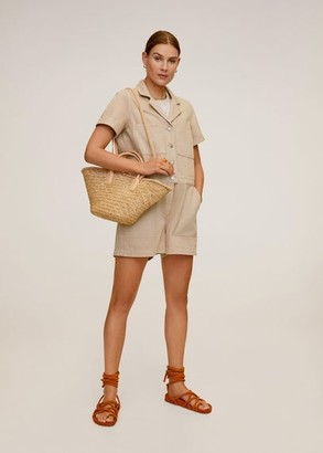 MANGO Denim short jumpsuit beige - L - Women