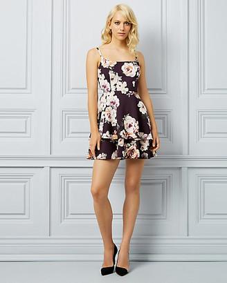 Le Château Floral Print Knit Square Neck Dress