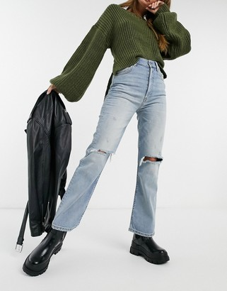 Boyish Boysih Brady Recycled Cotton ripped jeans in mid blue