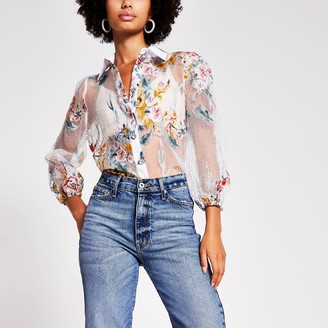 River Island Womens White floral print long sleeve organza shirt