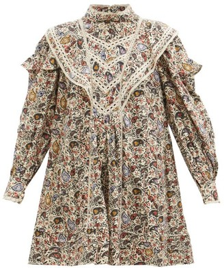Etoile Isabel Marant Rebel Lace-trimmed Paisley-print Cotton Mini Dress - Ivory Multi