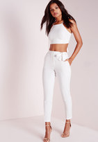 Missguided Petite Tie Belt Crepe High Waist Pants White