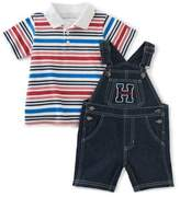 Tommy Hilfiger Size 24M 2-Piece Striped Polo Bodysuit and Denim Overall Set
