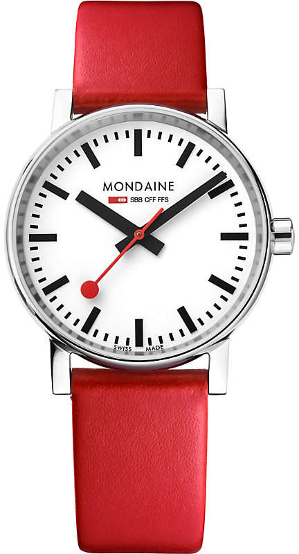 Mondaine MSE-35110-LC evo2 leather and stainless steel watch