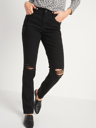 Old Navy Mid-Rise Power Slim Straight Black Ripped Jeans for Women
