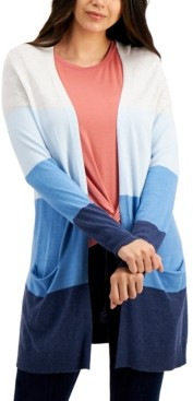 Style&Co. Style & Co Open-Front Colorblocked Cardigan, Created for Macy's