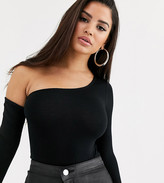 Asos DESIGN Petite bodysuit with one shoulder and long sleeve in black