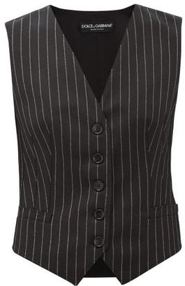 Dolce & Gabbana Chalk-striped Wool-blend Waistcoat - Womens - Grey Multi