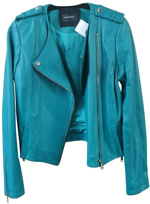 No Name Turquoise Leather Leather Jacket for Women