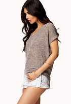 Forever 21 Marled Knit High-Low Top