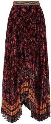 Alice + Olivia Katz floral-print silk-chiffon maxi skirt
