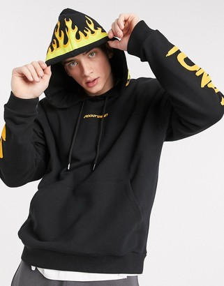 Crooked Tongues oversized hoodie with flame hood in black