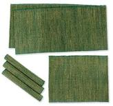 Natural fibers and cotton table runner and placemats (Set of, 'Nature of Green'