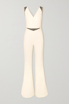 Safiyaa Draped Embellished Crepe Jumpsuit - Ivory