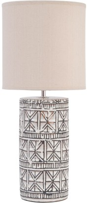 The Libra Company - Brown Porcelain Geo Pattern Table Lamp Natural Shade