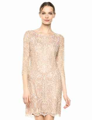 Pisarro Nights Women's Short Dress with Embroidered Beaded Motif