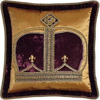 "Dian Austin Couture Home Royal Court Crown Pillow, 18""Sq."