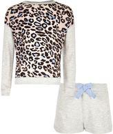 River Island Girls grey animal print shorts pajama set
